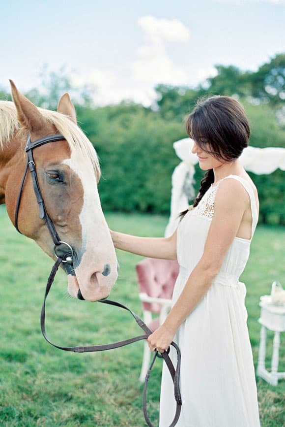 Bride and horse at an outdoor wedding
