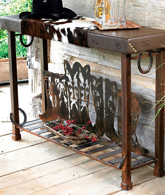 Boot Table with Cowhide and Horseshoes