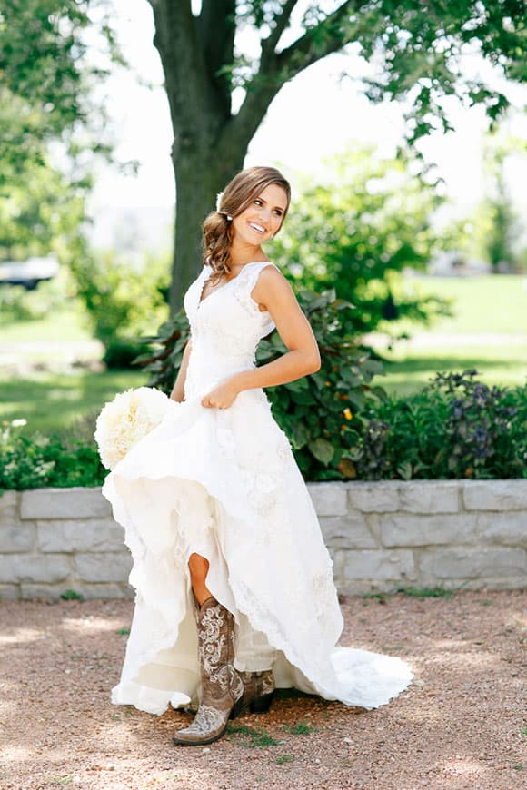 Cowboy boots and weddings cowgirl magazine for Wedding dresses with cowgirl boots