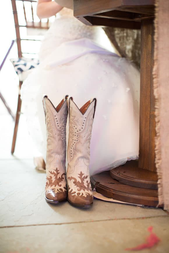 Wedding dress and cowboy boots