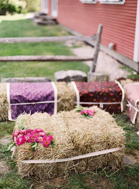 Rustic Weddings With Hay Bales