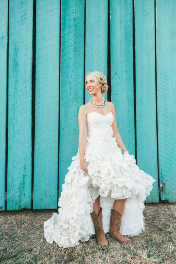Cowboy boots and a wedding dress