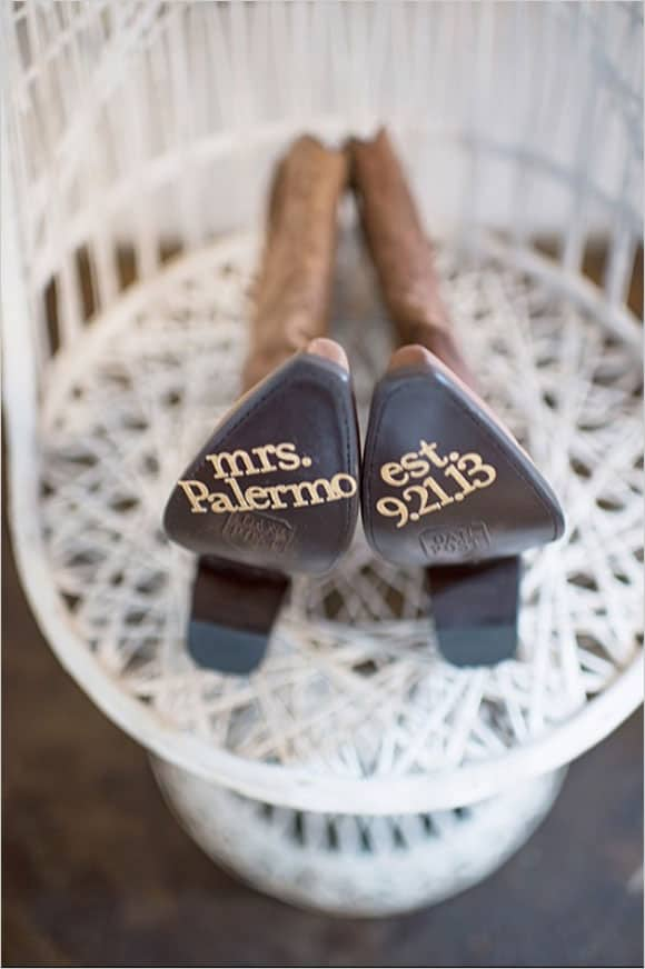 Wedding boots with the names and date