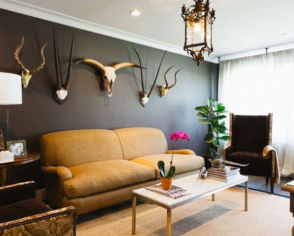 modern living room with skulls