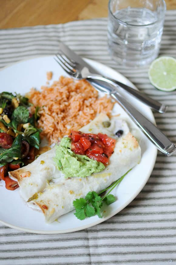 This recipe for Enchiladas Verdes is made with chicken and black beans ...