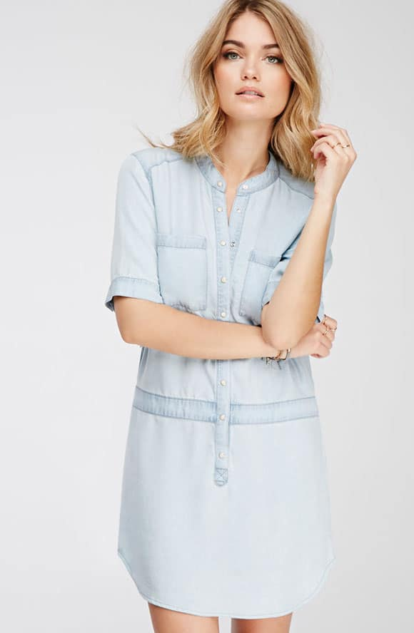 Light Chambray Shirt Dress images