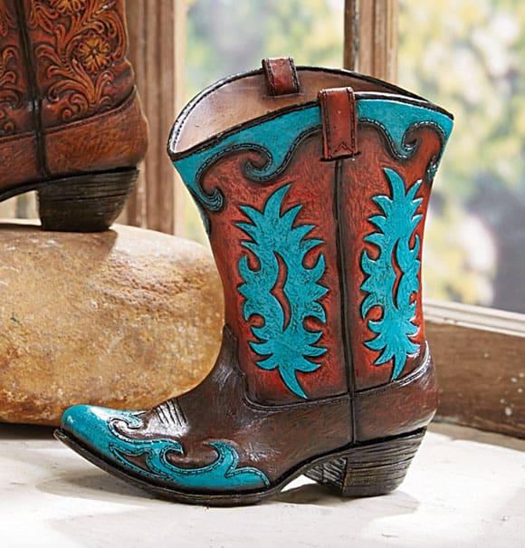 cowboy boot ceramic vase