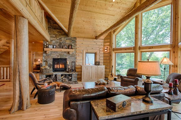 Rustic wood living rooms cowgirl magazine for Small cabin living room ideas