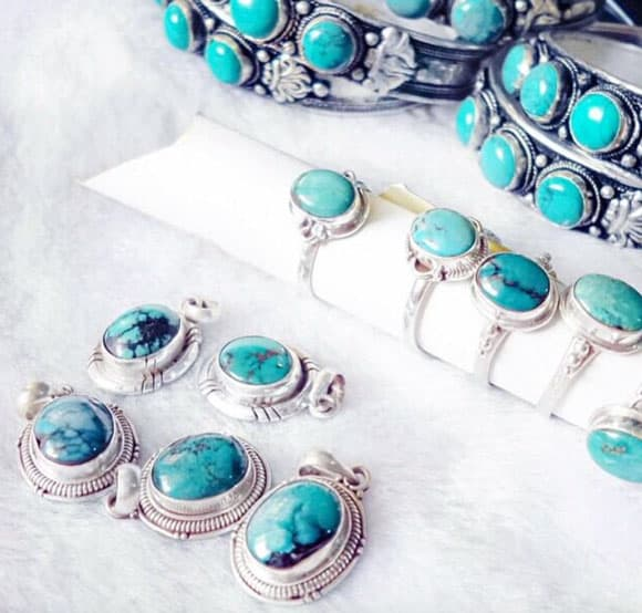 Turquoise pendants and rings