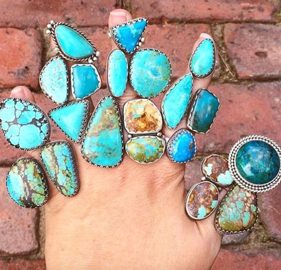 Turquoise rings and stones