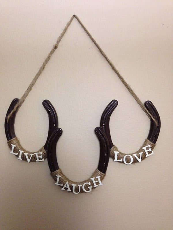 Horseshoe wall decor to buy or diy cowgirl magazine for How to decorate horseshoes