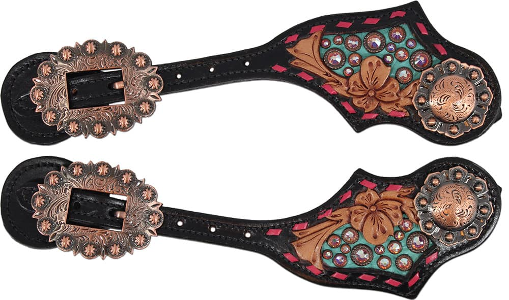 Pink-and-copper-spur-straps