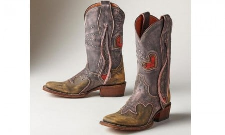 Heart shaped cowboy boots