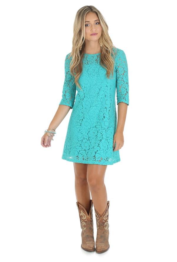 Wrangler-turquoise-lace-dress