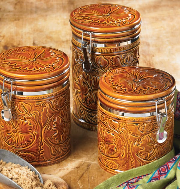 western canisters for a cowgirl s kitchen page 5 of 5 stoneware canister set kitchen storage jars uncommongoods