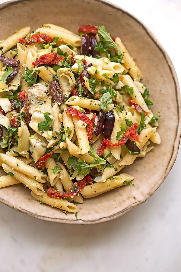 ... , pine nuts, and olives meet to make this Mediterranean Pasta Salad