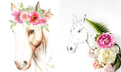 horse and flower art