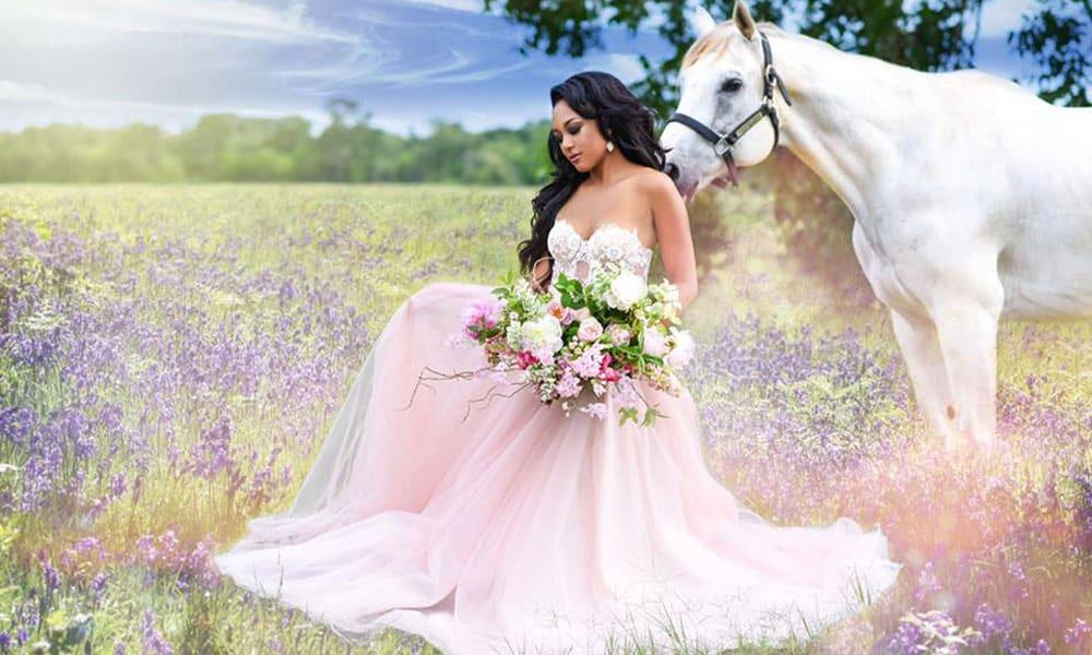 fairytale bridal bridals grant foto steven grant photo photos photography dreamy pink wedding dress marriage white horse unicorn bouquet