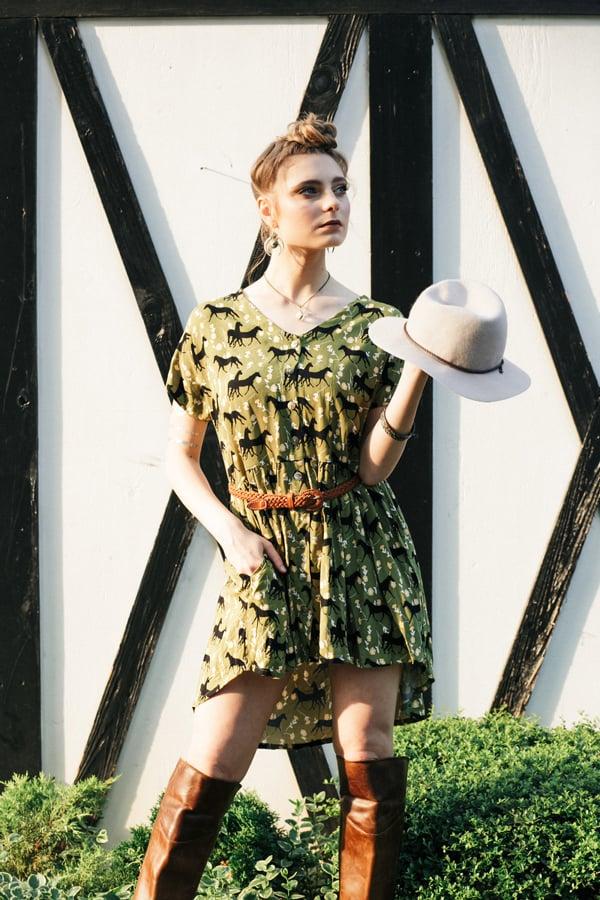 green-horse-print-dress