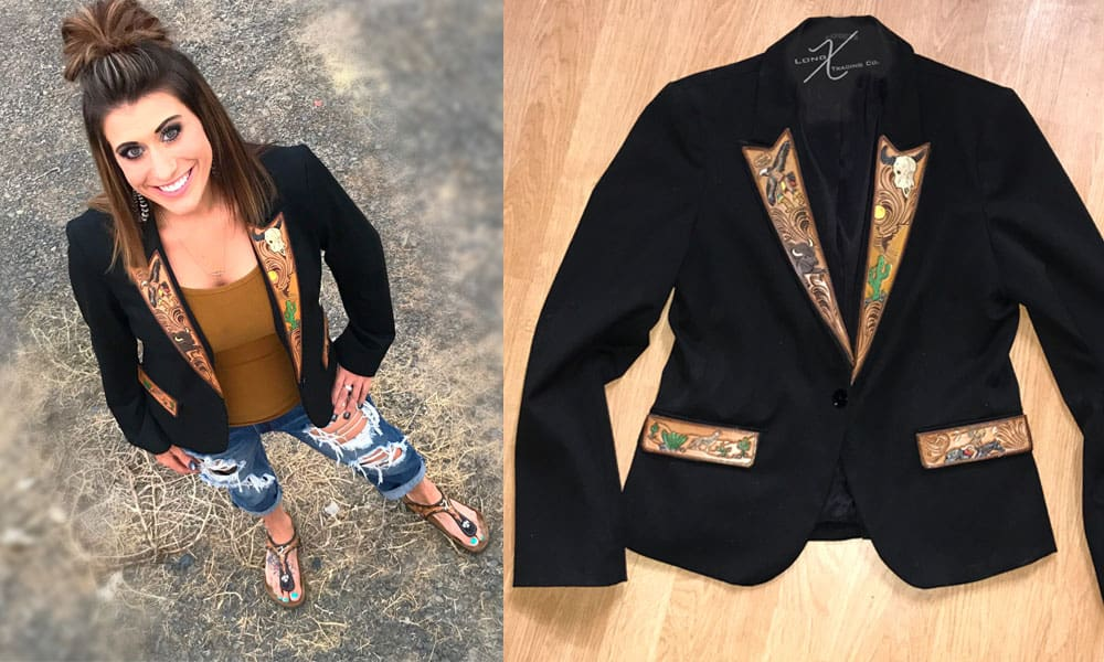 blazers tooled blazer long x trading co tooled leather tooling fitted blazer suit jacket cowgirl magazine