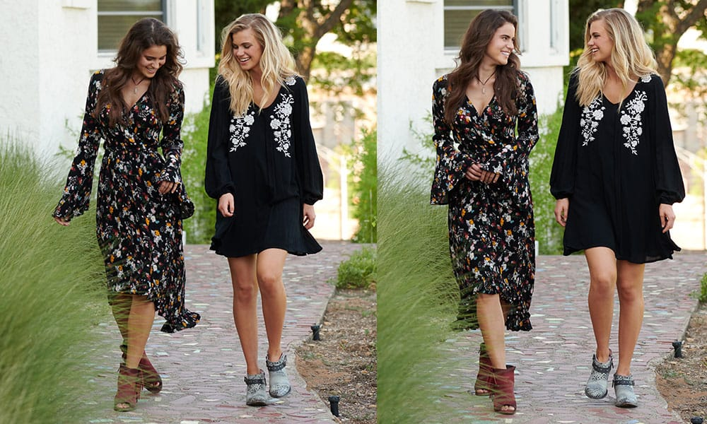 black floral dress white flowers high to low bell sleeve