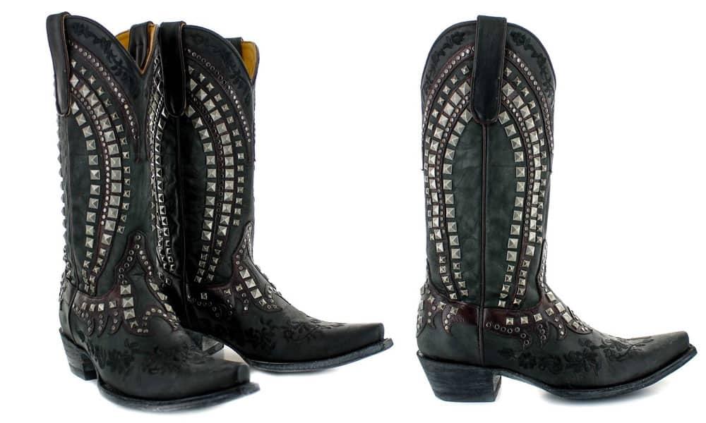kress studded black western boot embroidered roses old gringo