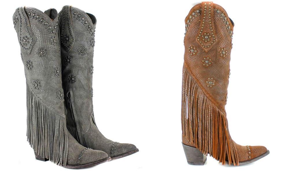 savannah tall western boot fringe studs snake print grey brown old gringo