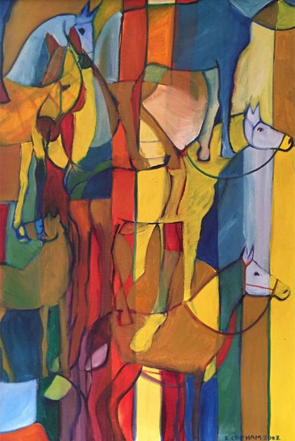 geometric horse 3 by k mae copham painting cowgirl magazine