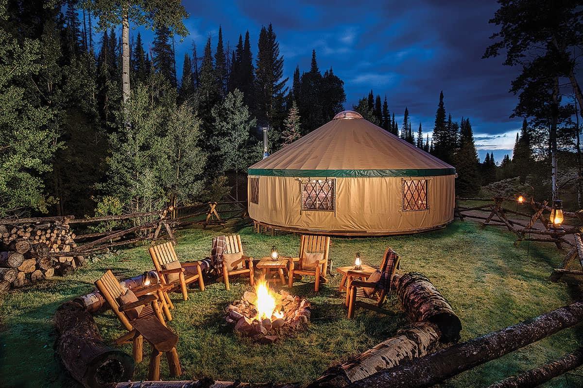 yurt campsite brush creek ranch saratoga wyoming cowgirl magazine