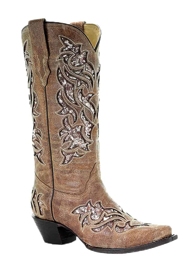gold and brown sequin boots corral cowgirl magazine