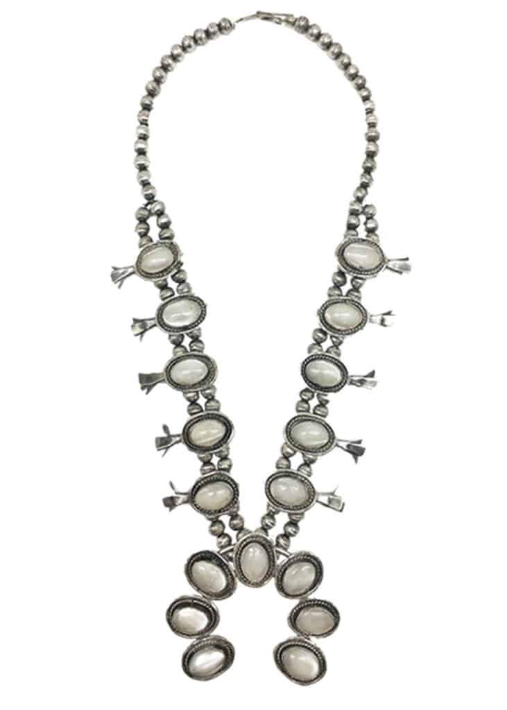 squash blossom necklace white double d ranchwear cowgirl magazine