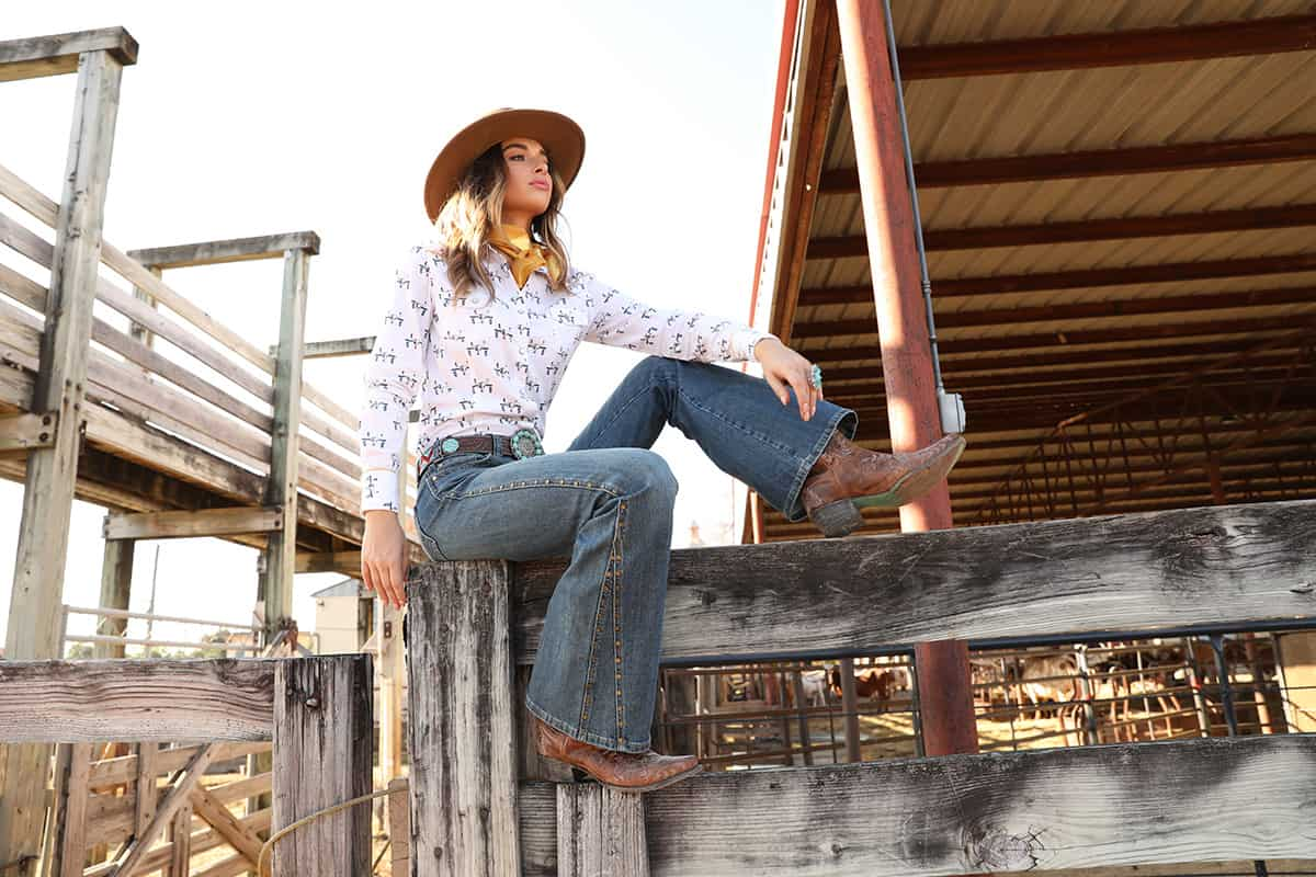 rock and roll mid rise flare jeans ranch cowgirl magazine