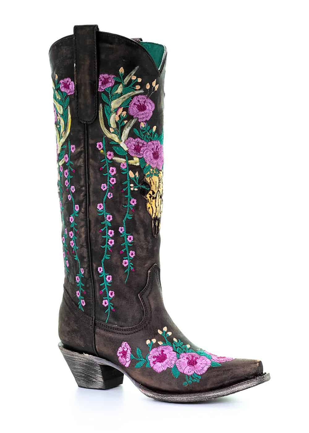 black boots with floral embroidery cowgirl magazine