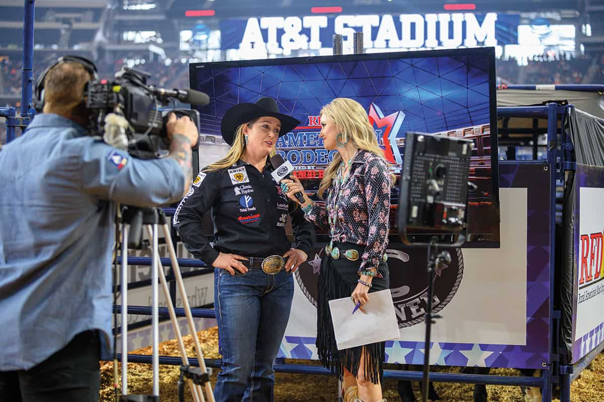 jackie crawford at rfd-tv's the american rodeo cowgirl magazine