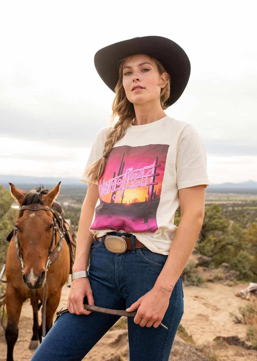 wrangler neon sign tee cowgirl magazine